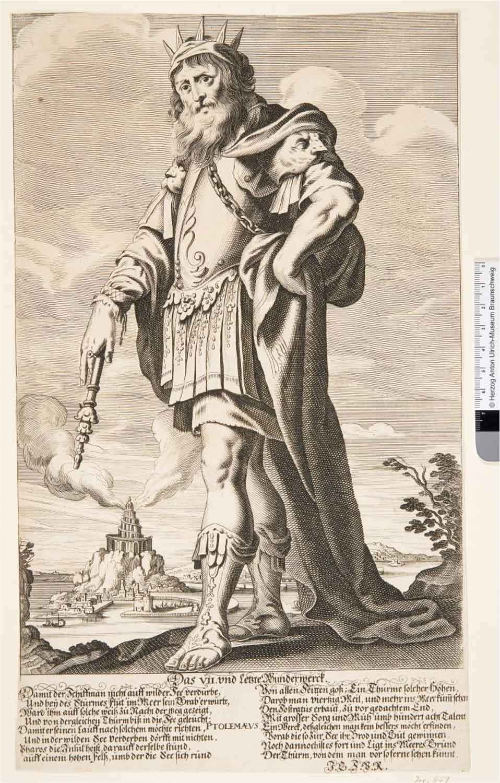 Ein Mann mit Krone, langem Haar, Bart, römisch anmutender Rüstung und Zepter in der Hand, dessen Spitze auf den Boden zeigt. Im Hintergrund: Hafenanlage und Leuchtturm.