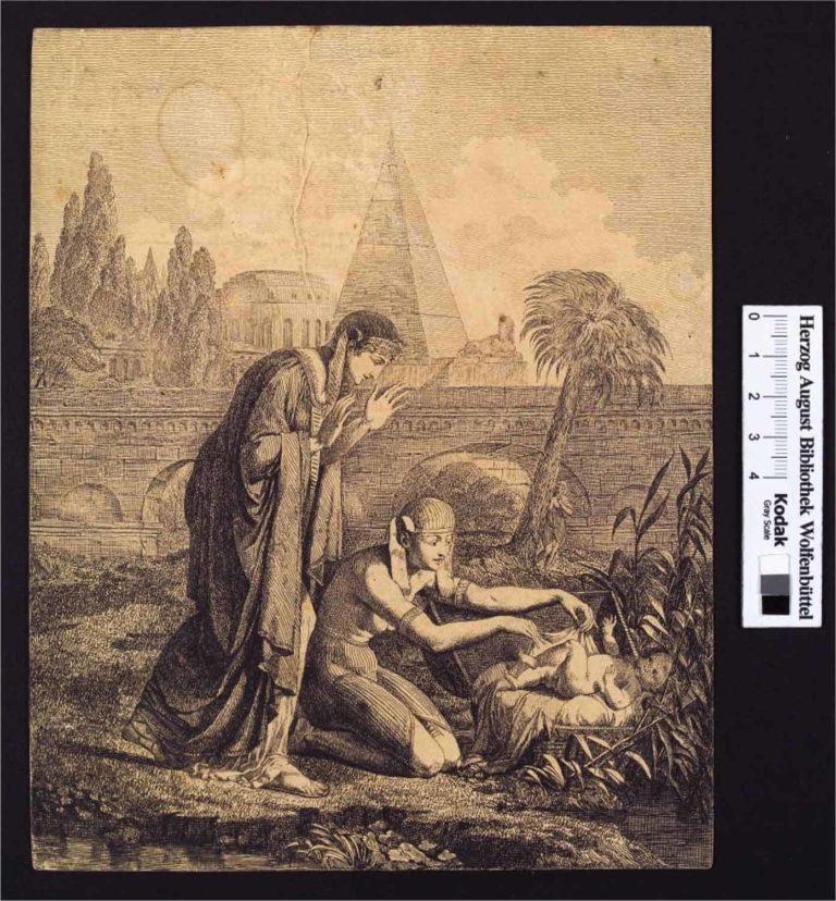 2 altägyptisch gekleidete Personen finden ein nacktes Kleinkind in einem Korb am Nilufer. Eine kniet am Korb, die andere steht dahinter und hebt die Hände. Im Hintergrund eine Palme, Laubbäume, eine Brücke, ein Kolosseum eine Pyramide und eine Sphinx
