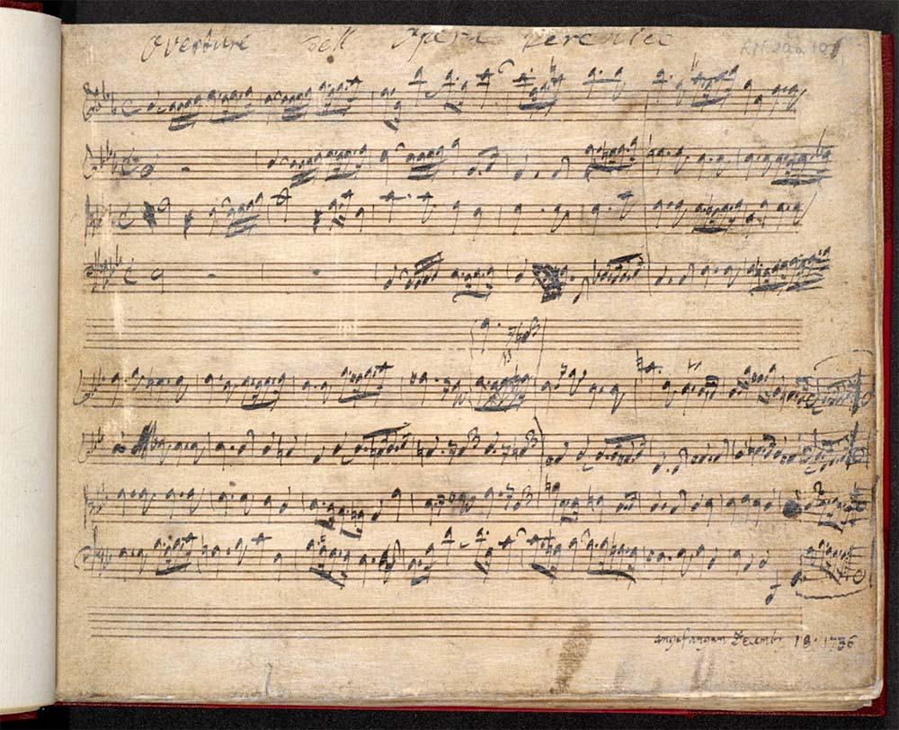 Vergilbtes Notenblatt; bis auf die fünfte und letzte Zeile vollständig beschriftet; Zeile 5 zeigt Korrektur. Am oberen Rand Titel notiert, der untere Rand trägt Datierung.
