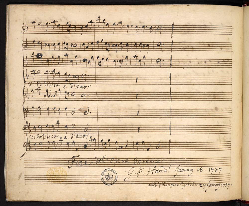 Vergilbtes Notenpapier; Zeilen sind zu 2 Dritteln beschrieben. Die letzten beiden Zeilen tragen die Unterschrift Händels und Datierungen.