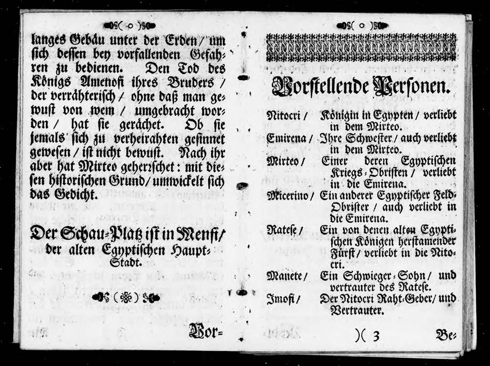 Zur zweiten Seite mit Inhaltsbeschreibung aufgeschlagenes altes Buch.