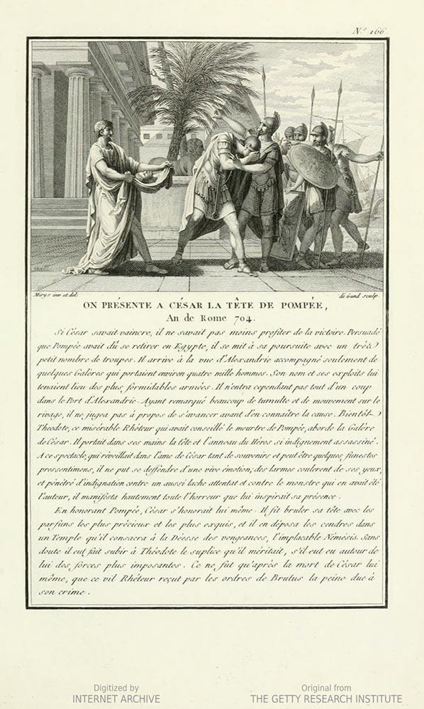 Buchseite; Abbildung im oberen Drittel: Ein Mann in einer Toga zeigt Cäsar den Kopf des Pompeius, Cäsar wendet sich ab zu fünf weiteren militärisch gekleideten Männern; darunter französischer Text.