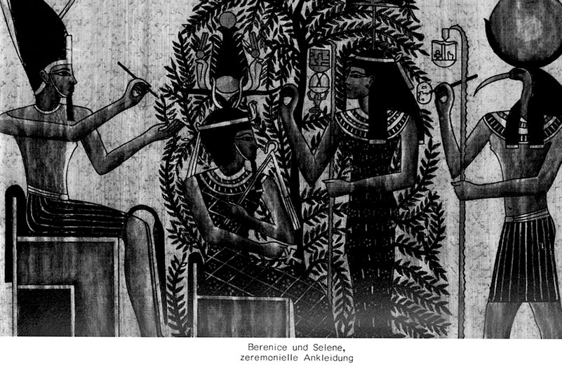 Zeichnung auf Papyrus: 4 Personen in altägyptischer Darstellungsweise, im Zentrum ein Baum, darunter sitzt Pharao, vor ihm steht eine Frau, schreibend, hinter ihr ein Gott mit Ibiskopf und Sonnenscheibe darauf, ebenfalls schreibend, auf der anderen Seite vom Pharao ein sitzender Gott, schreibend