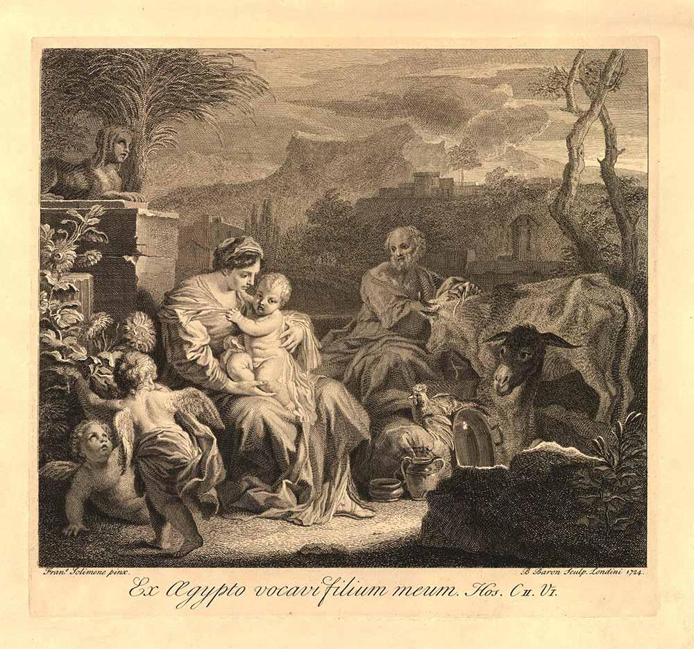 Frau mit nacktem Kleinkind auf dem Schoß; Neben ihr ein Mann mit einer Kuh, einem Esel und einem Huhn; Im Vordergrund sind 2 Engel zu der Familie gewandt; Im Hintergrund vorne eine Sphinx auf einem Steinpodest; dahinter Berge und eine Stadt.