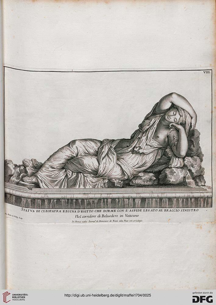 aufgeschlagene Seite eines alten Buches. Zeichnung einer auf dem Boden liegenden Frau mit geschlossenen Augen, Oberkörper auf Gestein abgestützt.