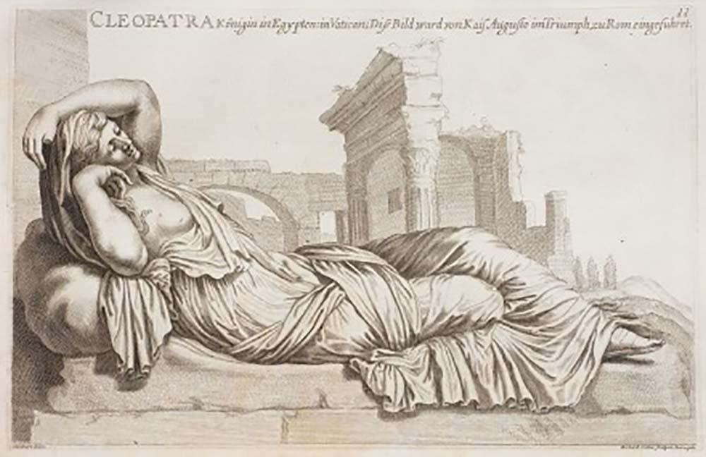 Zeichnung einer mit erhöhtem Oberkörper liegenden Frau mit geschlossenen Augen, eine Ruine im Hintergrund.