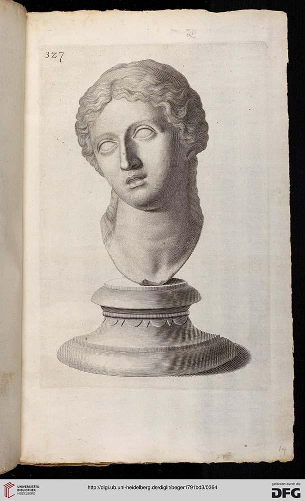 Seite eines alten Buches, Zeichnung einer Büste einer langhaarigen Frau, Gesicht leicht zur Seite gewandt.