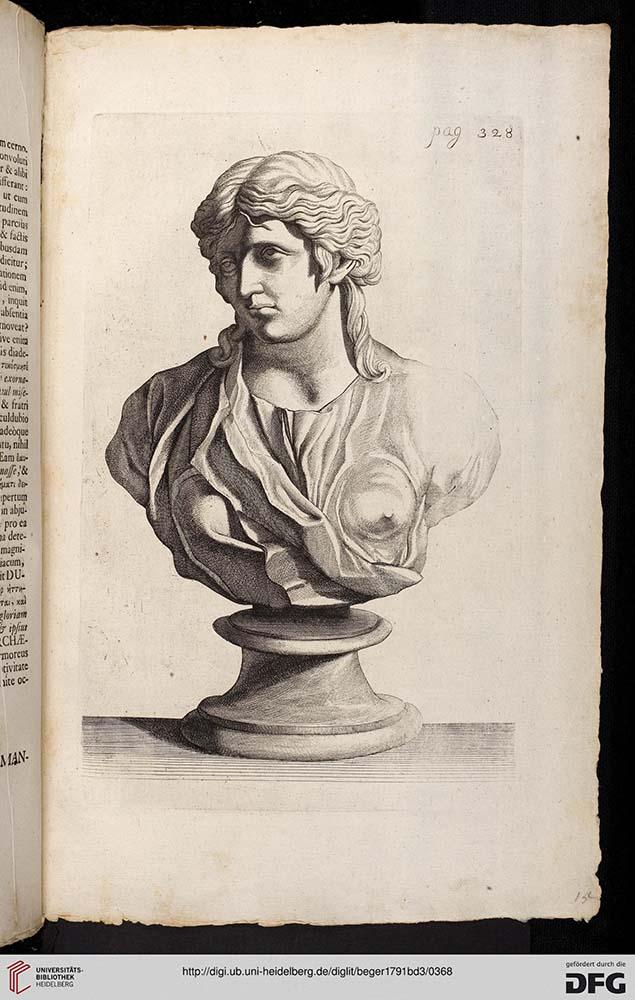 Seite eines alten Buches, Zeichnung einer Büste einer langhaarigen Frau, leicht zur Seite gewandt.