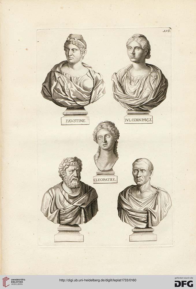 Seite eines alten Buches, Zeichnung von 5 Büsten, 3 Frauen und 2 Männer, mit Namen auf den Podesten.