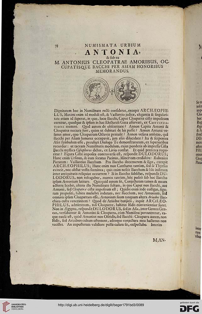 Seite eines alten Buches, lateinischer Text im oberen Bereich Zeichnung von 2 Seiten einer Münze.