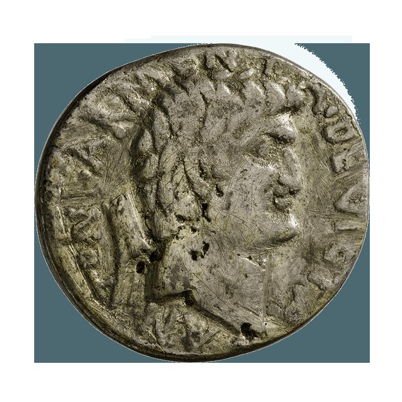 2 Seiten einer Münze aus dem Bestand der Gipsabgußsammlung der Georg-August-Universität Göttingenjeweils ein Kopf in Seitenansicht von einem Mann und einer Frau, umgeben von Inschrift;